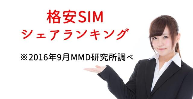 格安SIMのシェアランキング 2016年9月(MMD研究所調べ)トップ画像