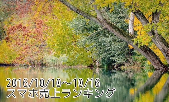 2016/10/10~10/16 スマホ売上ランキング iPhone7 128GBモデル強し!